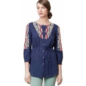Anthropologie Tunic Top Hei Hei Embroidered 14 XL